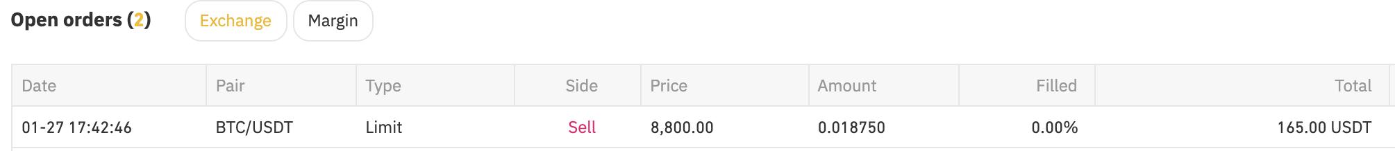 Order Bitcoin Binance